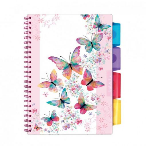 Spirálfüzet ARGUS 100 lapos, színregiszteres, 4 részes, A/5-ös vonalas, Butterfly